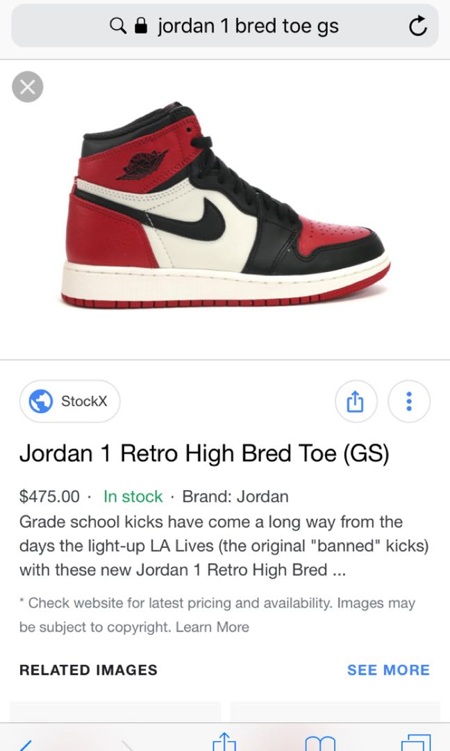 low priced 2e71c 06033 Air Jordan 1 bred toe 2018, Women's Fashion, Shoes, Sneakers ...