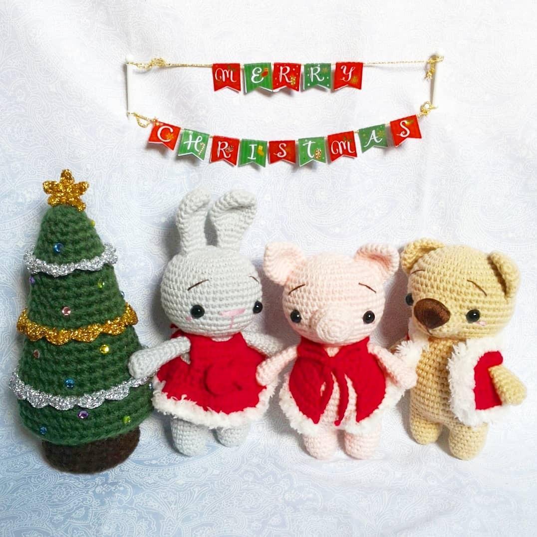 crochet Christmas pattern set - mini amigurumi Christmas ornament patterns | 1076x1076