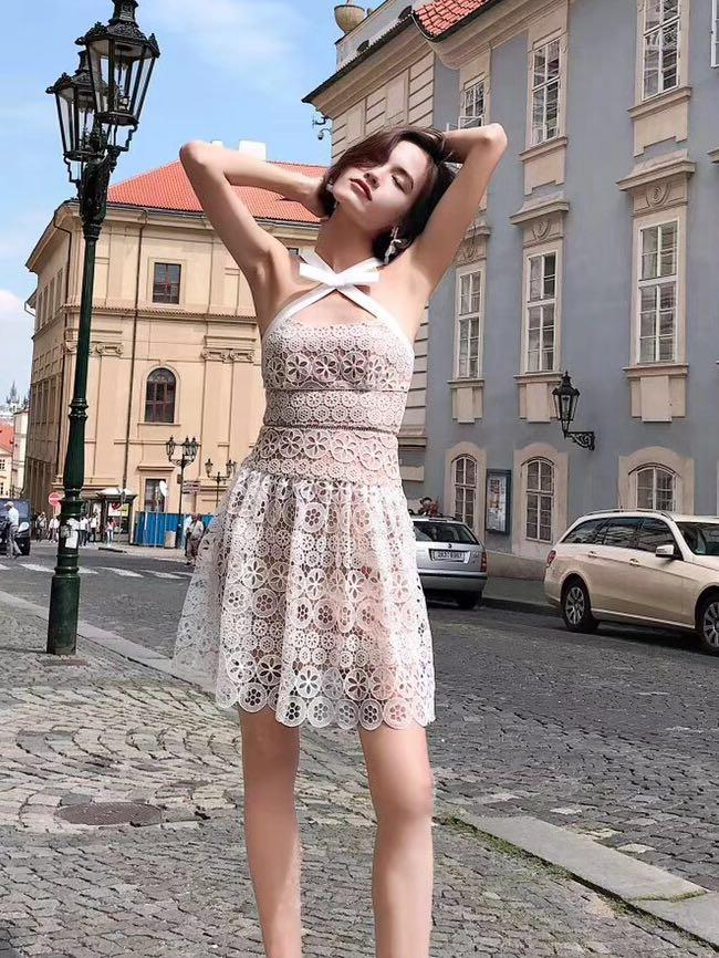 Authentic Self portrait white floral lace ribbon dress