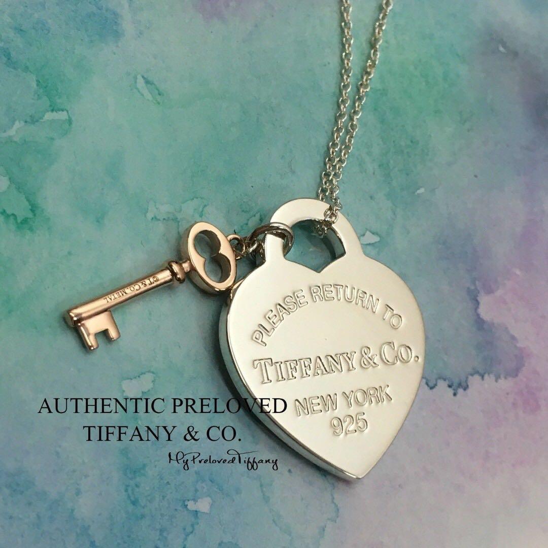 06e5696f184 Authentic Tiffany   Co Return To Tiffany Silver Heart Rubedo Key ...