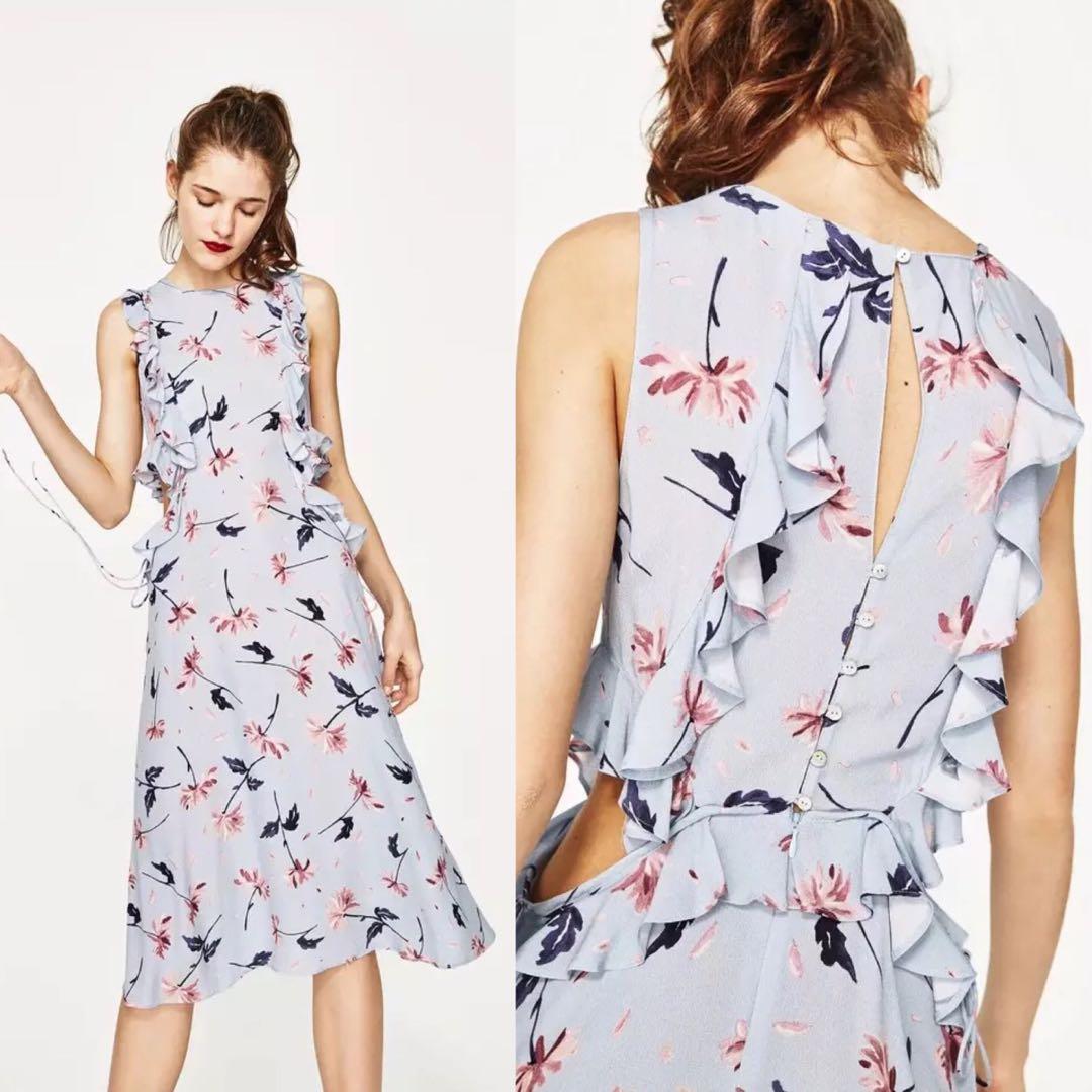 cf59466838 BNWT Zara Inspired Cut Out Floral Midi Dress