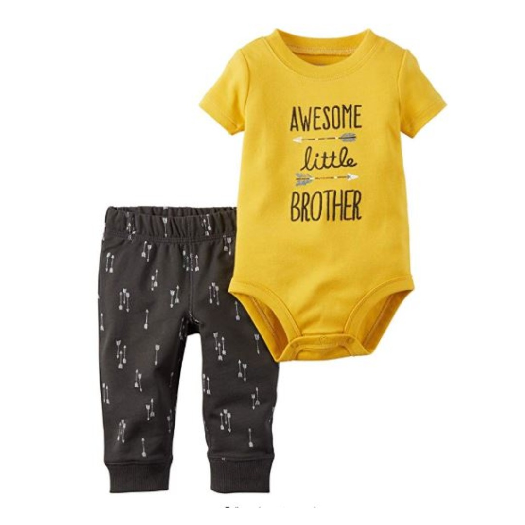 86fed0b2a626 Carters 3M Baby Boys Awesome Little Brother Pants Set