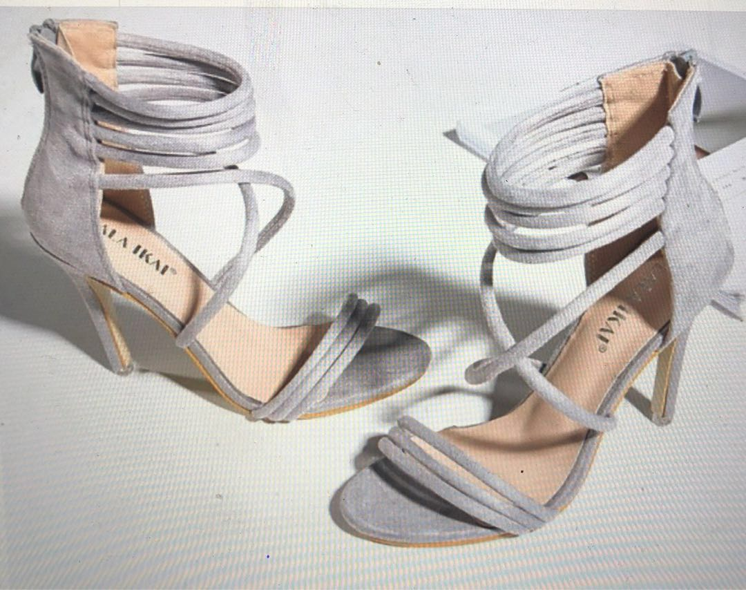 b066bd0ab82 Classy strappy high heels with back zipper (Dove grey)
