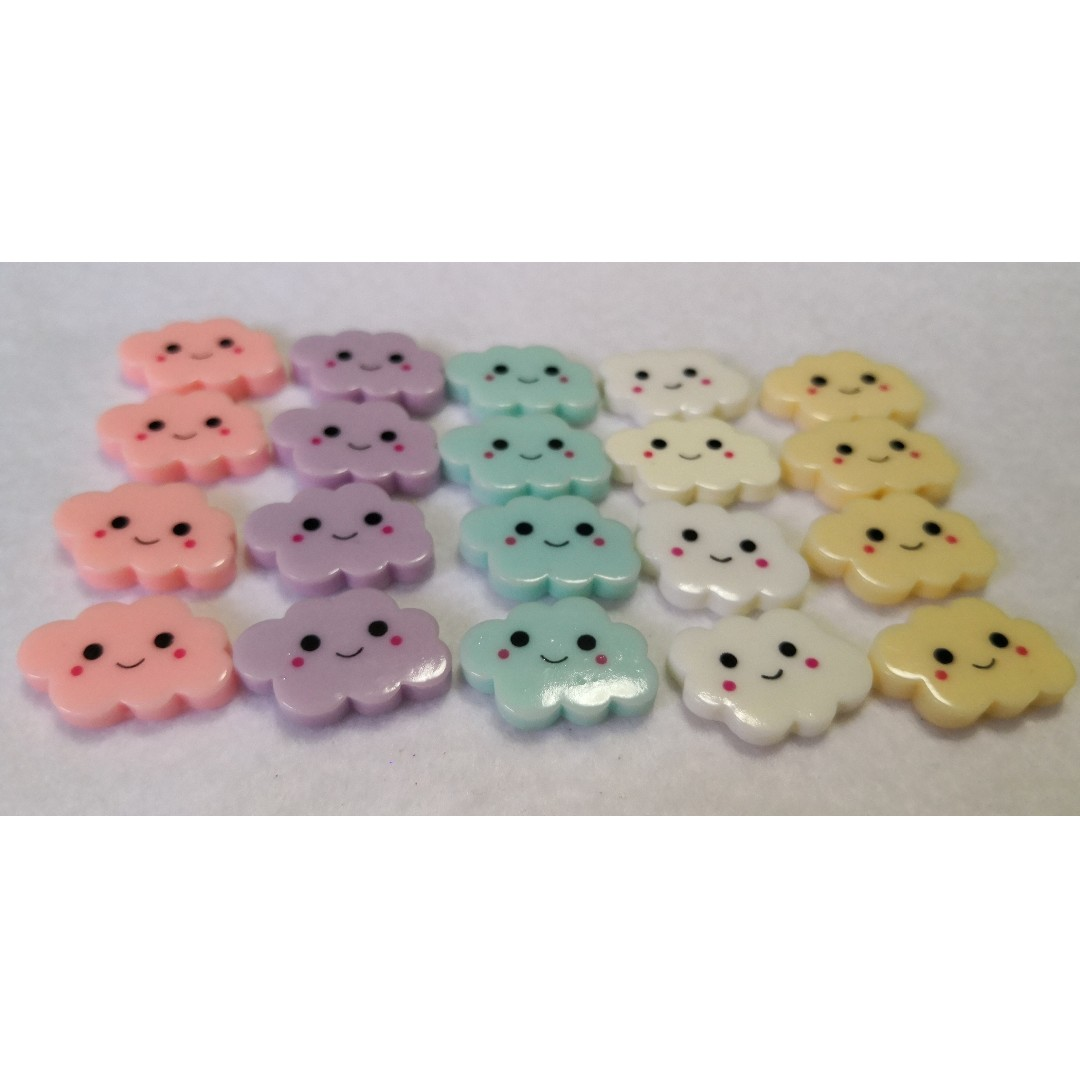 Cloud With Smiley Face Resin Cabochons Assorted Colors 10 In A