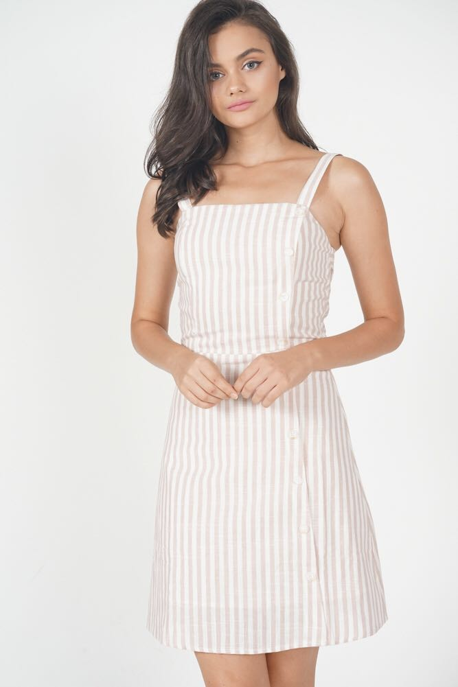 451bc8d735 MDS Self-Tie Linen Dress in Pink Stripes