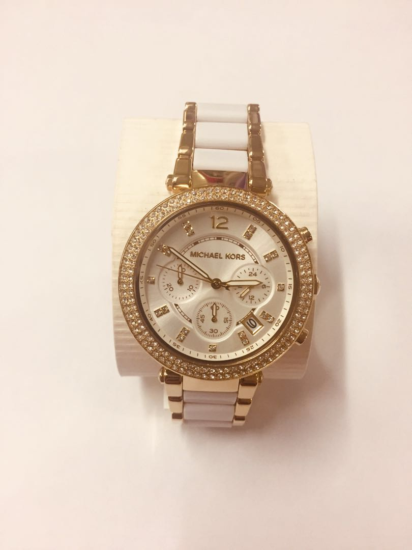 0b74d2b77a70 Michael Kors By Fossil Gold Tone White Parker Watch Luxury Watches