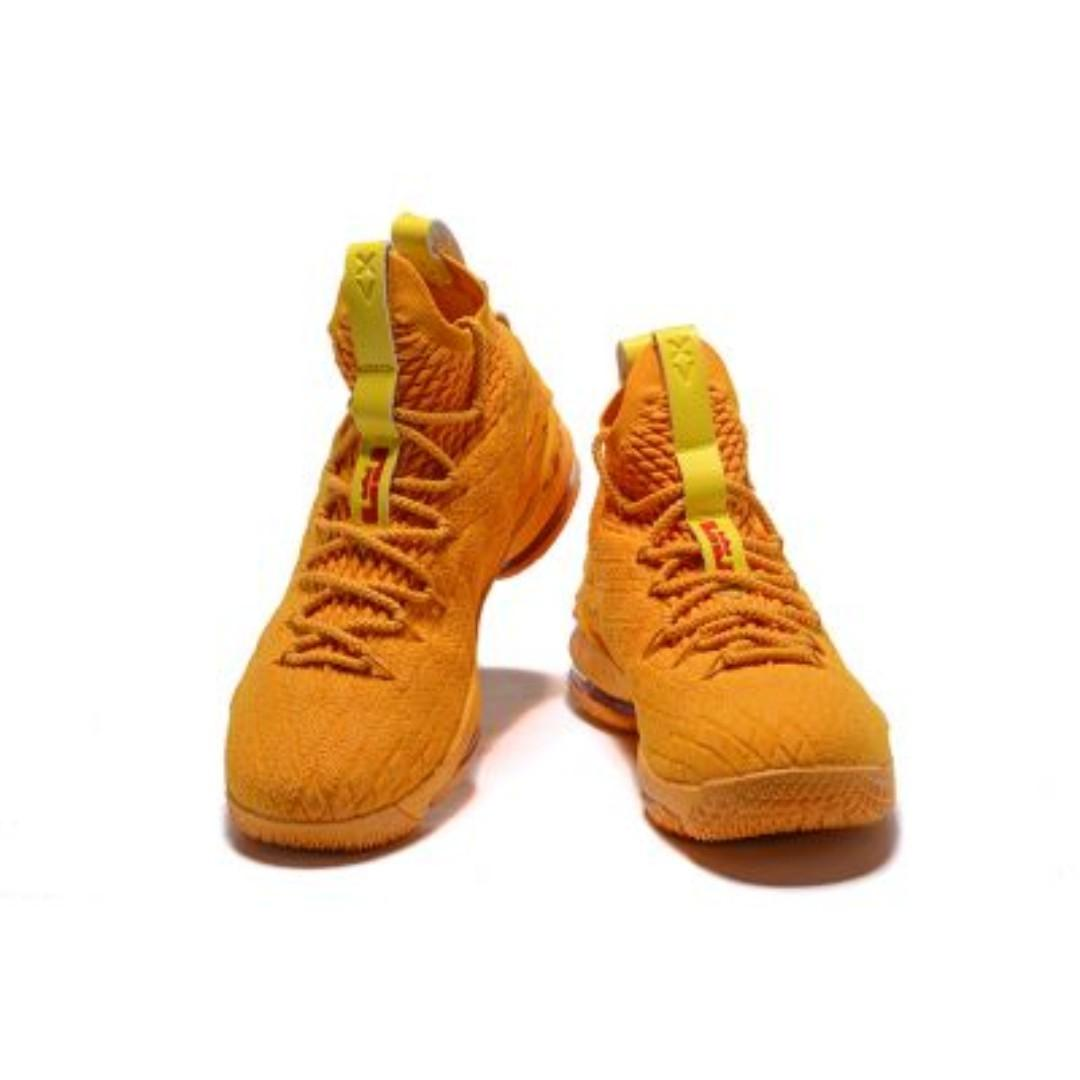 """low priced 6aa50 a859d NIKE LEBRON 15 """"CAVS"""" ORANGE/YELLOW MENS BASKETBALL SHOES ..."""