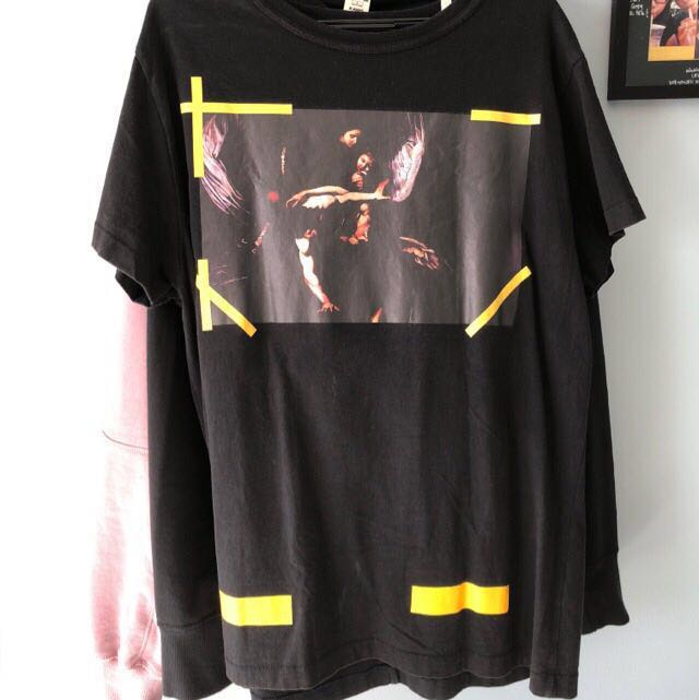 bb3a6a9b6 Off White 15SS caravaggio tee, Men's Fashion, Clothes, Tops on Carousell