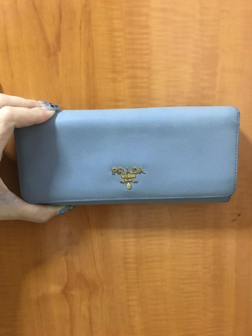 b06f26cdc5 Prada light blue long wallet