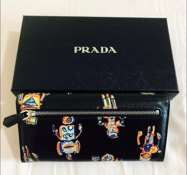 18e3dc1951bb00 PRADA Saffiano St. Robot Long Zip Around Wallet, Luxury, Bags & Wallets,  Wallets on Carousell