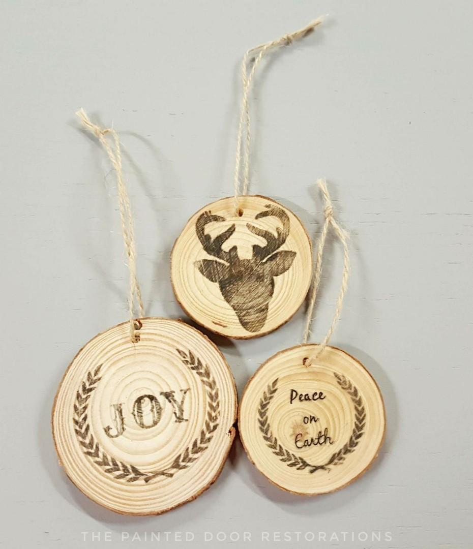 Rustic Wood Slice Christmas Tree Ornaments