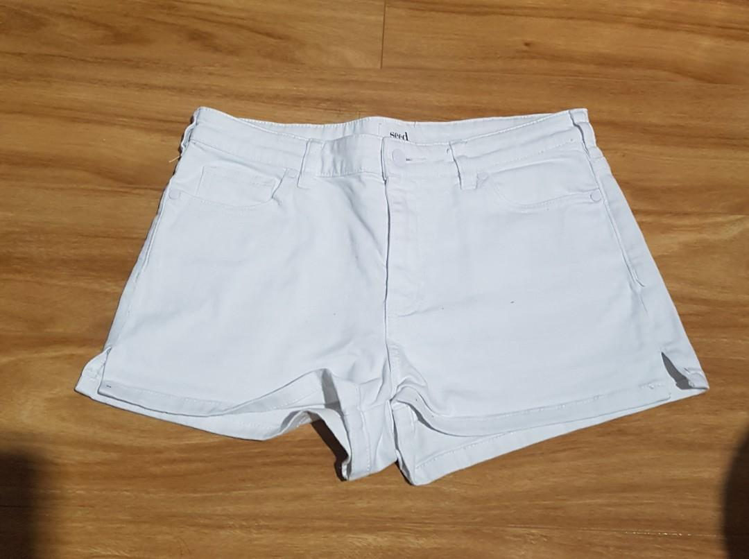SEED white denim shorts