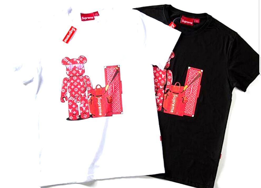 Supreme X Louis Vuitton Bear Printed Tshirt White Or Black