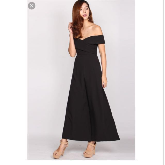 64c14392dd70 The Design Closets Izabelle Pleated Off Shoulder Wrap Jumpsuit in black