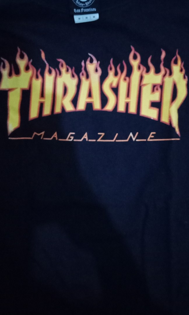4a3c430d long sleeve thrasher size M,original 100% ,minus pemakaian, Men's Fashion,  Men's Clothes, Tops on Carousell