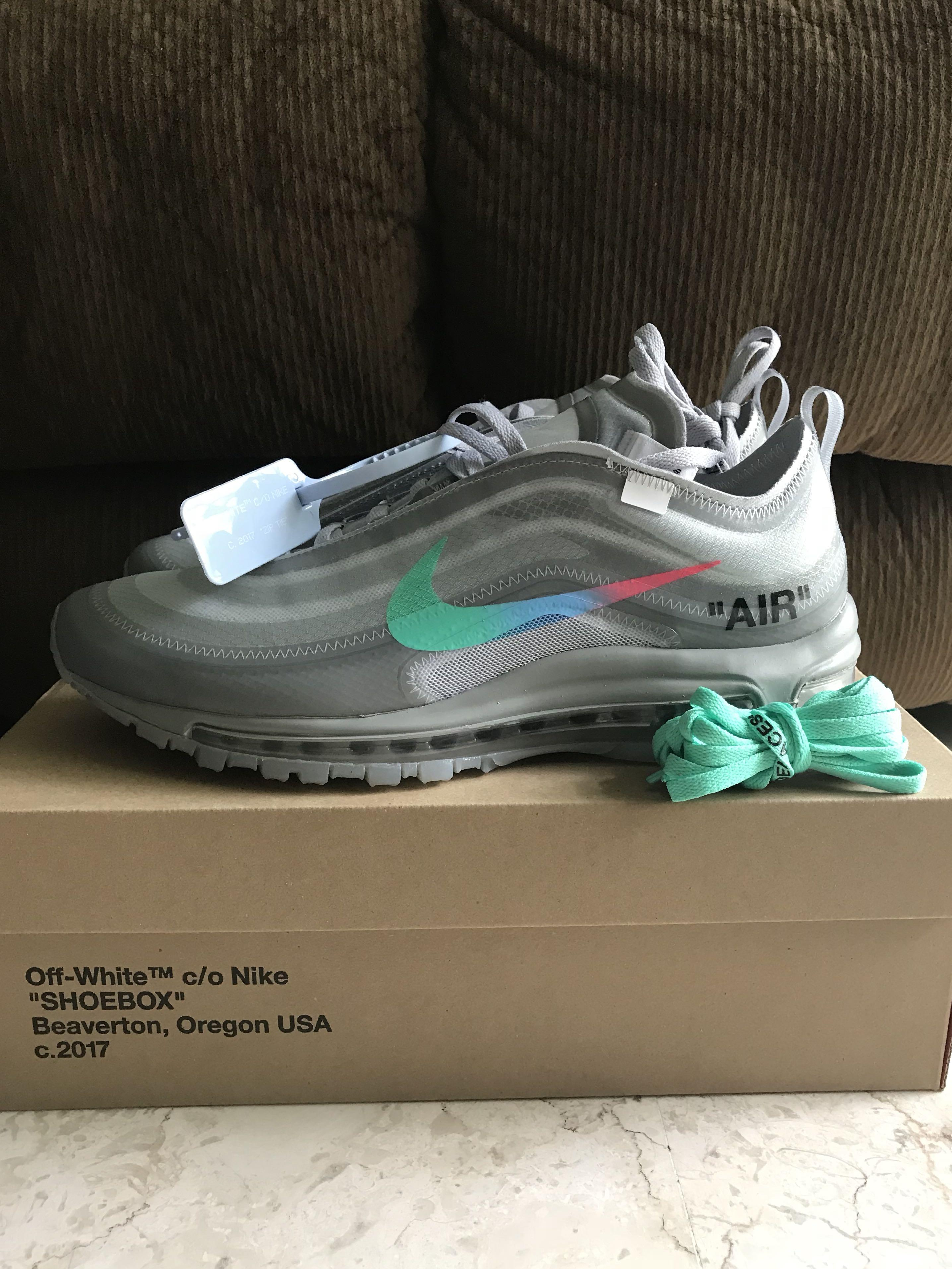 more photos ee8c0 9cbcd US 9.5 Off White Nike Air Max 97 Menta, Men's Fashion ...
