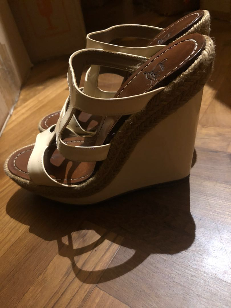 0a929925ac2 Well loved Christian Louboutin super comfortable white patent espadrilles  size 36 wedge shoes