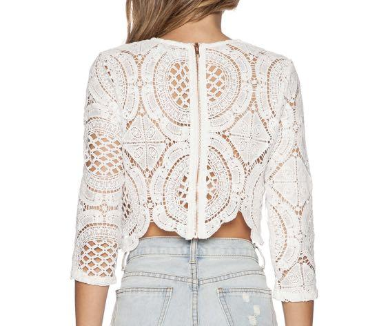 X LOVE INDIE BALMAIN CROCHET TOP IN OFF WHITE (SIZE XS)