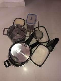 Star pressure cooker (Indian) ,Large Pan and containers