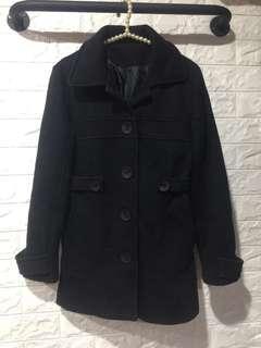 🚚 棉質排扣短大衣外套-黑色