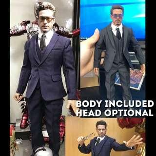 Tony Stark in Suit 1/6 Scale[Iron Man Poptoys X26 CooModel Male Body Hottoys Hot Toys Mark Mk Kitbash Head Sculpt Business Shoes]