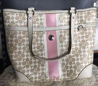 Ori Authentic Tas Coach Chelsea Heritage Beige White pink stripe tote shoulder bag