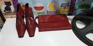 Bundle!! Genuine LeatherClutch Bag & Boots
