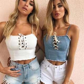 c517d713a01d PO405  BRANDY MELVILLE INSPIRED FRAYED EDGES CROP LACE UP SPAG TOP