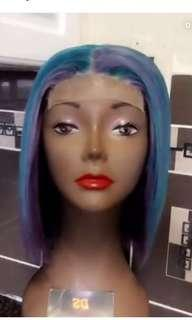 Wig unit made by me -human - lavender purple and green