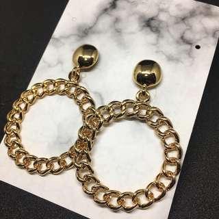 韓系耳環 鏈條大圈耳環 現貨特價 韓劇飾品