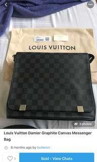 Graphite LV Messenger Bag