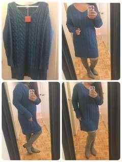 Cable knit sweater dress size M