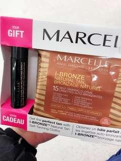 Marcelle tanning wipes w/ a black waterproof mascara