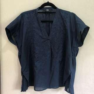 Uniqlo Navy Embroidered Cotton Top