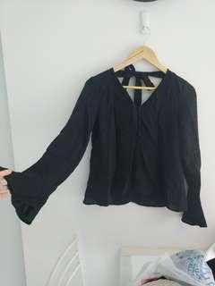 Perfect Stranger Flare Black Bow Top size 6