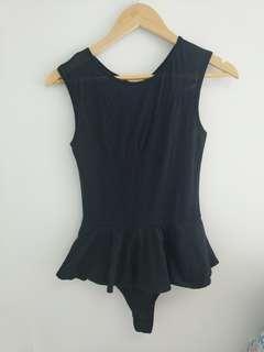 Forever New size 6 Mesh Peplum Black Bodysuit