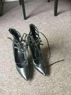 lipstick lace up heels
