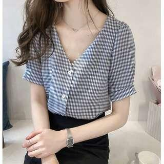 [PO] Gingham V Neck Button Down Blouse