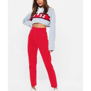 red straight leg cut off deep waistband joggers  Size