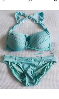 NWT SEAFOLLY SOFT CUP C/D ICE BLUE HALTER HIPSTER BIKINI SiZe 16 rrp$189