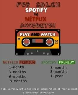 NETFLIX AND SPOTIFY PREMIUM FOR SALE!