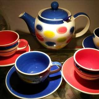 Whittard Multi Coloured handpainted Teapot Set