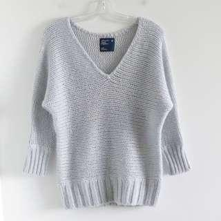 American Eagle Outfitters blue grey knit sweater M medium