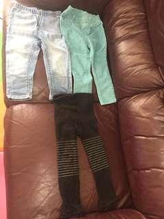 2-3歲 女童長褲3條$50