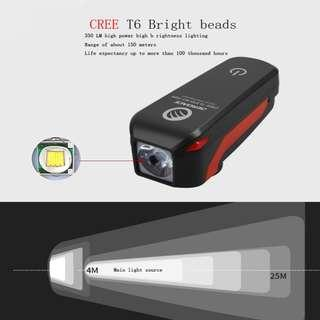 Bicycle Front Light Waterproof LED Bike Light With Bell Horn USB Rechargeable