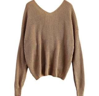 Brown Knitted Top with open back