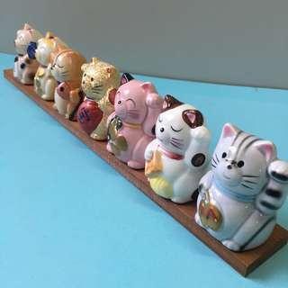日本直送 七福 貓 瓷器 招財 招福 貓 咪 勿語 Cat