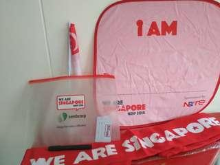🚚 [WTT/WTS]  Brand New Ndp 2018 Scarf,  SG Flag,  Luggage Tag,  Foldable Fan Cum Notice Board W Marker.  See All Pics.