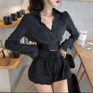 Black crop blouse