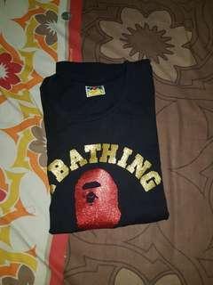 Bape red glitter logo tshirt